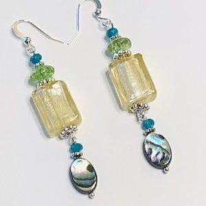 Abalone Lampwork Glass & Quartz Crystal Earrings
